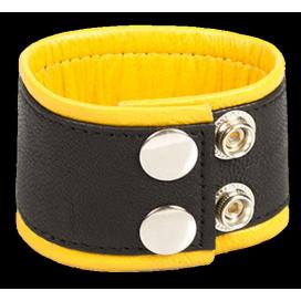 Kiotos Bracelet de force en cuir 5cm Noir-Jaune