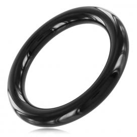 Black Label Cockring fin Steel 8mm Noir