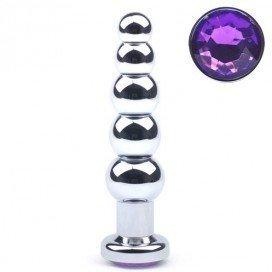 Plug Bijou anal Beads Purple 14 x 3.5 cm