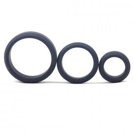 Lot de 3 cockrings Silicone Noir