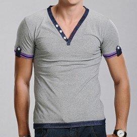 Xuba T-shirt Col V gris et denim
