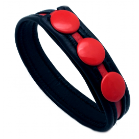 The Red Cockring en cuir High Noir - Rouge