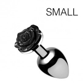 Booty Sparks Black Rose Butt Plug - Small - Black
