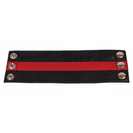 Cockpik Bracelet de force en cuir avec zip noir-rouge