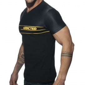 Addicted T-shirt v-neck Combi mesh noir