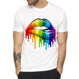 T-shirt Rainbow Lips Blanc
