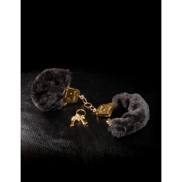Menottes Gold Furry Noires