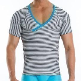 Narrow V-shirt Bleu