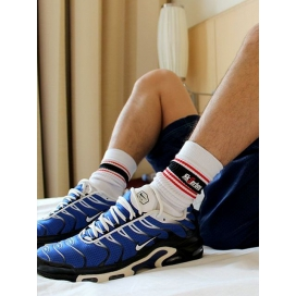 Sk8erboy Chaussettes blanches Sk8erboy Deluxe Blanc-Rouge