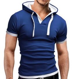 T-shirt à capuche Bleu